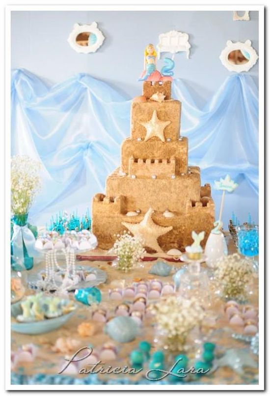 Cake at a Mermaid Under The Sea Party with Lots of Cute Ideas via Kara's Party Ideas