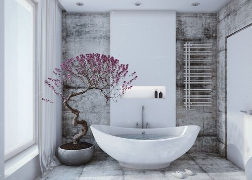 White and gray bath with violet display