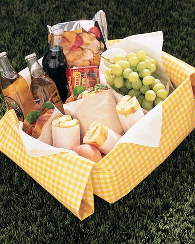 picnic to go in a cute yellow gingham box