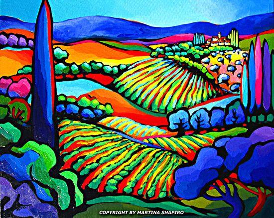 Vineyard Expression painting original abstract landscape fine art by artist Martina Shapiro.