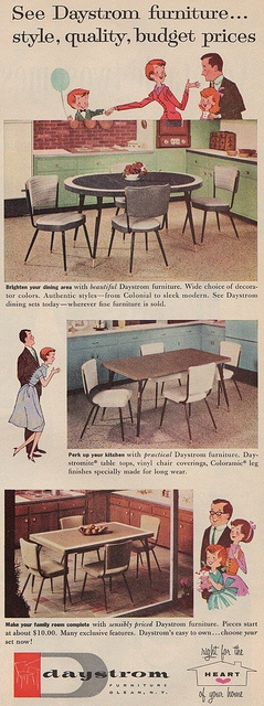 Daystrom formica topped kitchen tables/dinettes. 1958