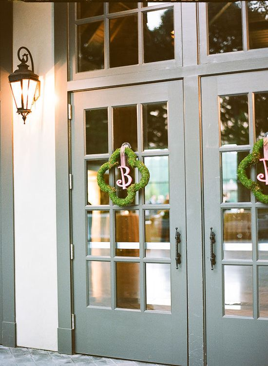 like the idea of using the monogram for wreaths for reception