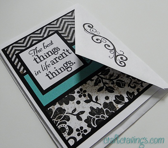 The best thing in life card. Use up smaller pieces of patterned paper to make a striking card. Instructions and dimensions listed as well. #craftcravings #ctmh #stamping #cardmaking
