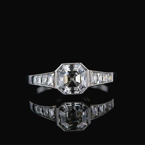 Art Deco Asscher Cut Diamond Engagement Ring Platinum Estate Diamond Ring