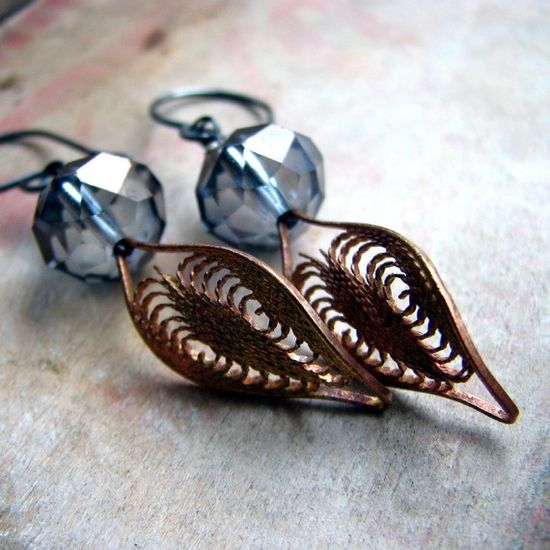 Romantic earrings crystal and vintage brass leaf by noblegnome