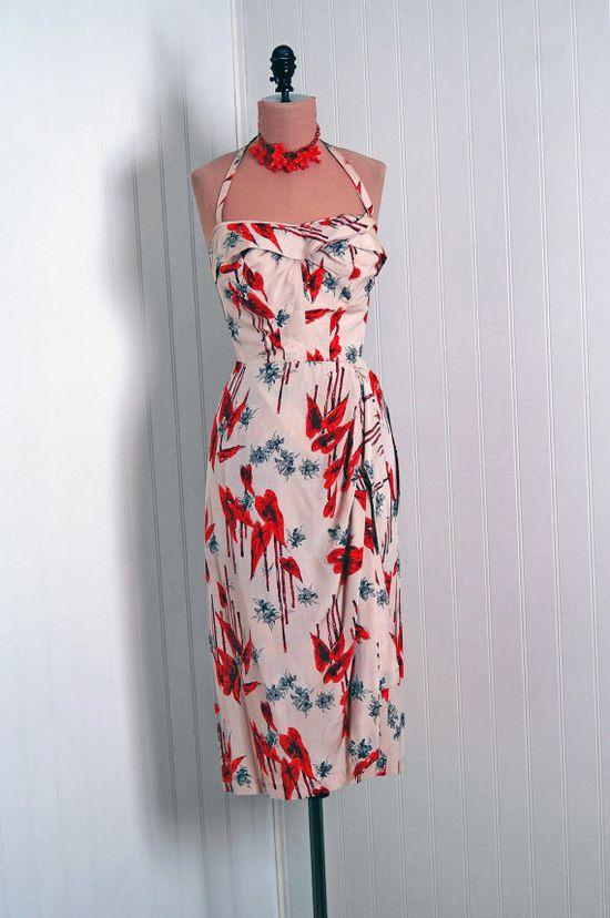 Vintage 1950s Hawaiian wiggle dress.