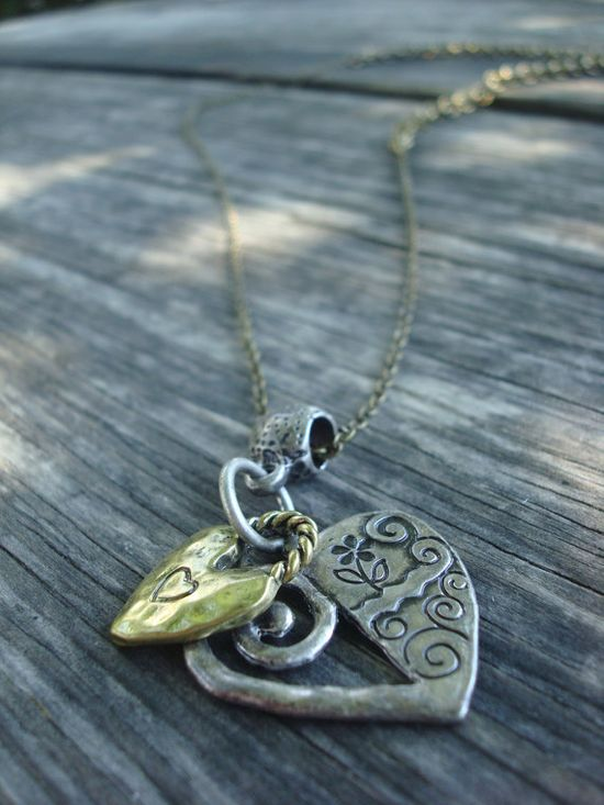 Metal hearts unite - charm necklace