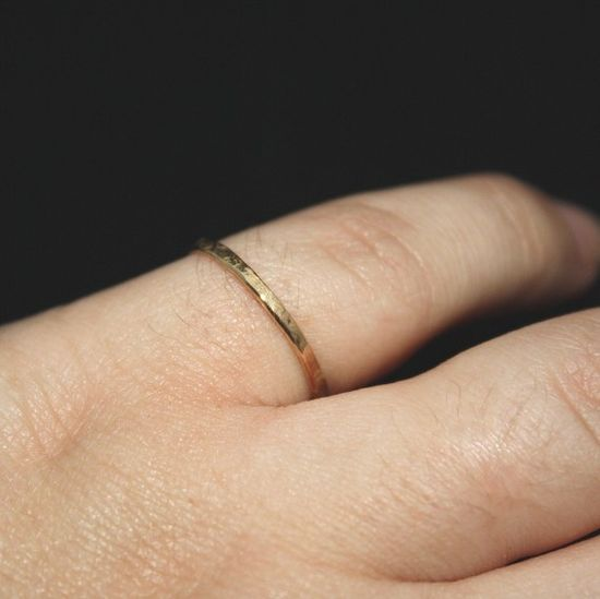 thin hammered stacking ring gold filled band Sparkle Ring