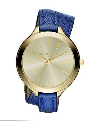 Michael Kors Mid-Size Navy Leather Double-Wrap Watch.