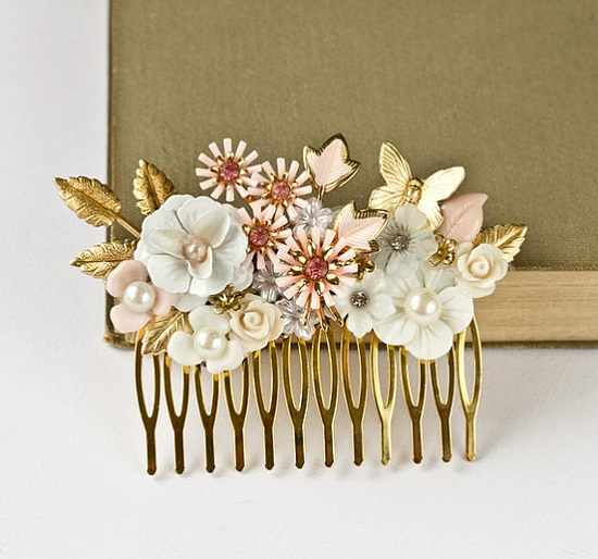 Pink Bridal Hair Comb  Bridal Hair Accessories Shabby by lonkoosh, $96.00