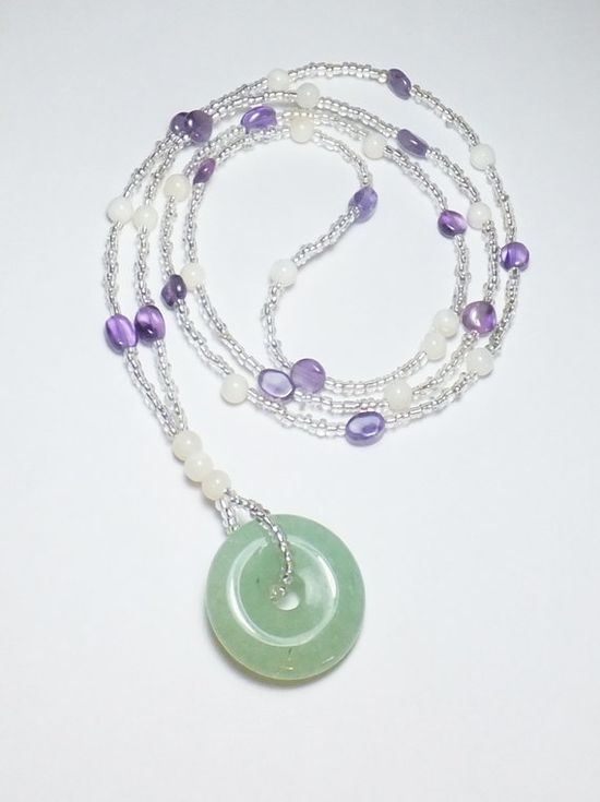 Green Aventurine and Amethyst Necklace with Mother of Pearl by Designs by Tamiza, tzteja on Etsy, $25.00  #jewelry, #necklace, #beaded, #designsbytamiza, #noclasp, #handmade, #ooak, #amethyst, #aventurine, #jade, #motherofpearl, #shell, #pendant