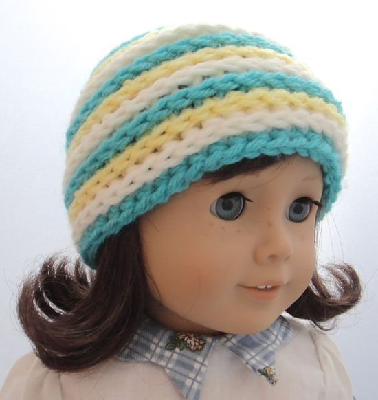 American Girl Doll Beanie Crochet Stripes by PreciousBowtique, $3.00