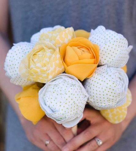 Handmade Fabric Flower Bouquet – Yellow by Bagsy Blue Co. on Scoutmob Shoppe