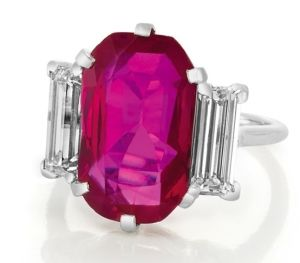 Cartier pink sapphire and diamond ring.