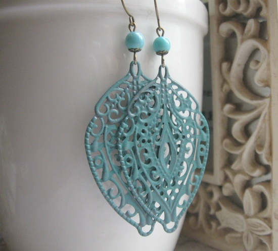 Large leaf earrings, verdigris patina - filigree metal leaves, turquoise blue - long dangles.