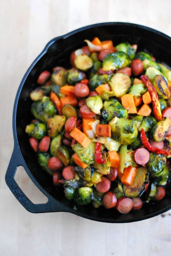 Brussels Sprouts Skillet by paleofoodiekitchen: An easy one skillet meal perfect for a weeknight.  #Skillet #Brussel_Sprouts #Easy