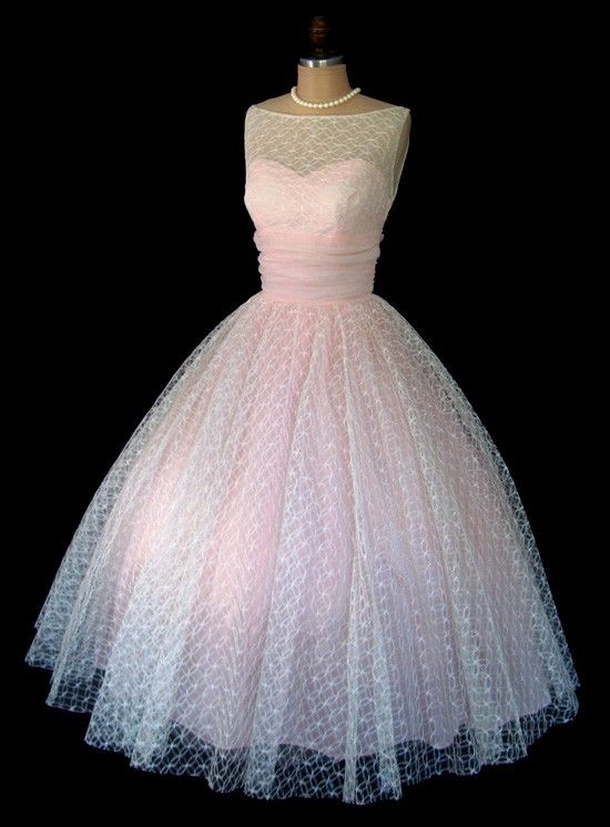 Vintage 1950's. White Lace Tulle and Pink Chiffon Illusion Cocktail Party Dress