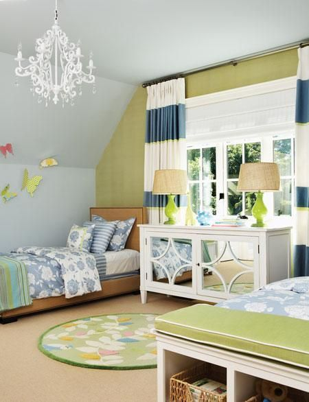 kids room :  chandelier - color palette - round rug - wide stripes on the drapes - mirrored side table (shared) - open shelved bench color combo