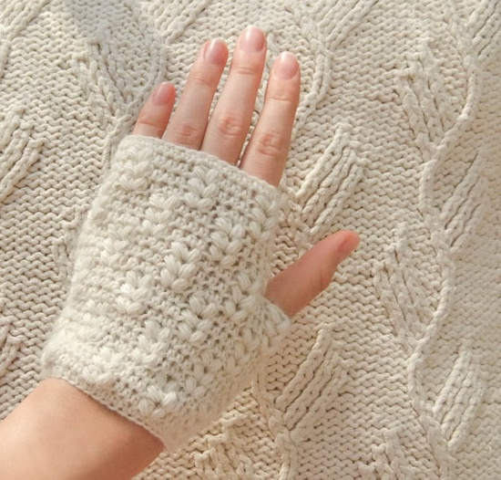 PDF CROCHET PATTERN Mittens Soft as Sound  white by WhisperTwister, $4.99