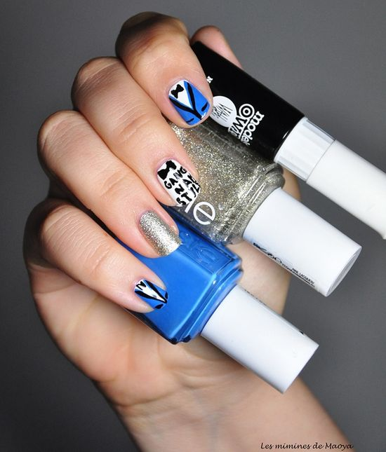 Gangnam style nail art - yournailart.com/... - #nails #nail_art #nails_design #nail_ ideas #nail_polish #ideas #beauty #cute #love