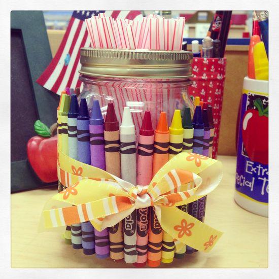 #handmade #craft #prek #teacher #crayons #strawholder #ribbons