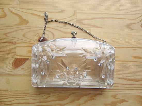 Clear lucite purse // 1950s vintage carved clutch by @Stephanie Close Close Close Snyder, $ 75.00
