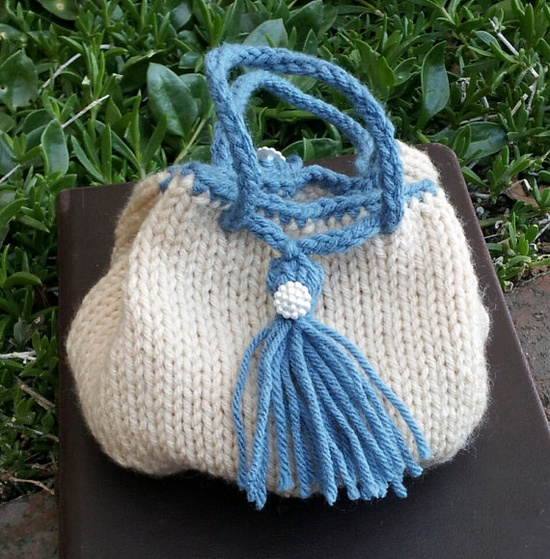 Romance and Jane Austen! Beige and Blue Victorian Knitted Drawstring Pouch by stinkRknits, $22.00