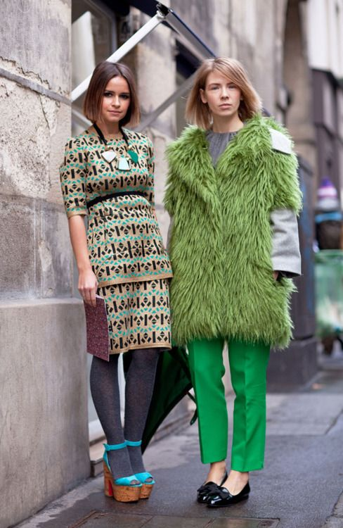 variations of green on the street. #NMFallTrends