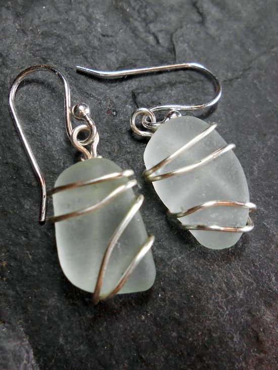 Sea Glass Earrings, Beach Glass Jewelry - RIPPLES.