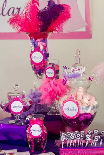 Candy jars at a Princess Party #princessparty #candyjar