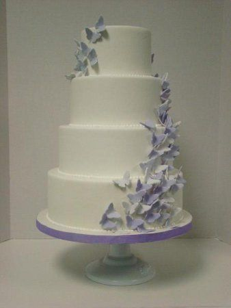 Wedding Cake - butterflies purple white round cake