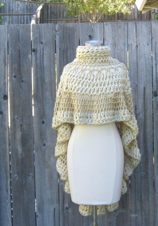 CROCHET CREAM  PONCHO Cream Beige Shawl Turtleneck by marianavail, $115.00