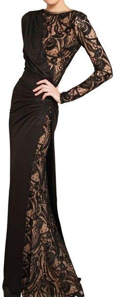 EMILIO PUCCI Lace and Stretch Wool Jersey Long Dress
