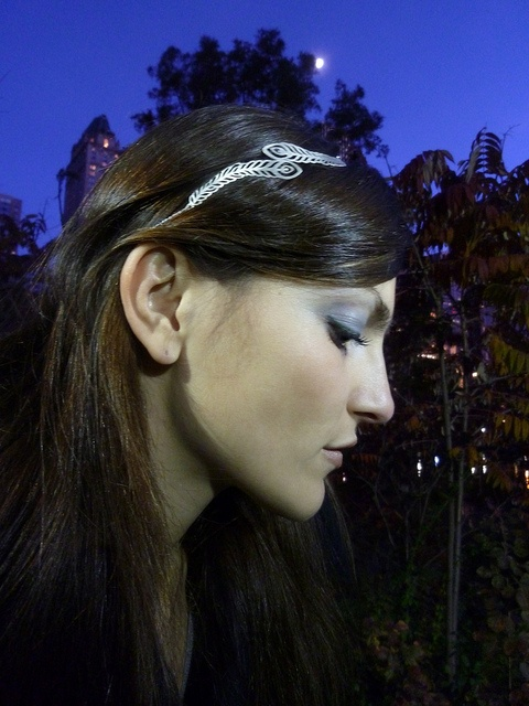 sterling silver peacock feathers handmade headband