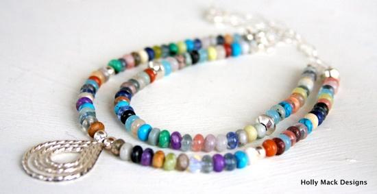 Multi colored double strand gemstone necklace sterling silver pendant sterling silver chain agate turquoise jasper quartz lapis rose quartz. $130.00, via Etsy.