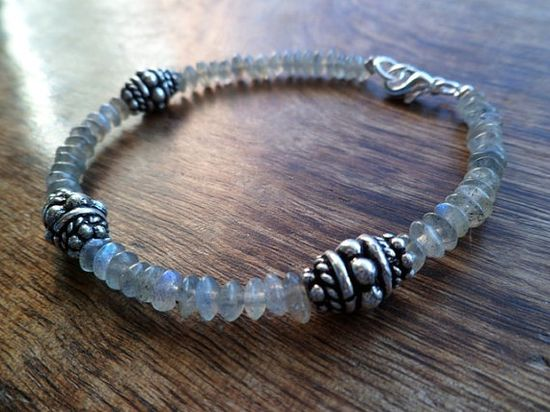 Labradorite and sterling silver bracelet Mineral by Unics on Etsy, $31.00