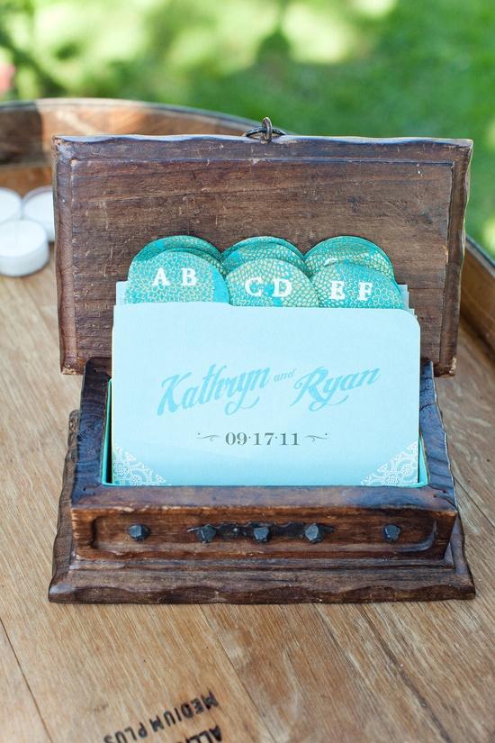 Escort Card via Card Catalog ;) Love this!