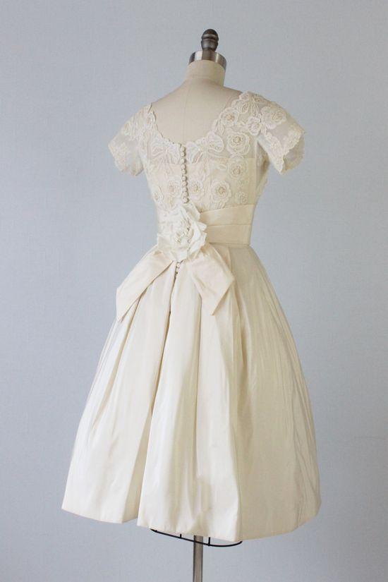 Vintage 1950s Knee Length Wedding Dress