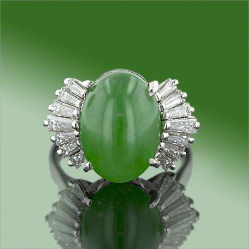 Burmese Jade and Diamond Ring