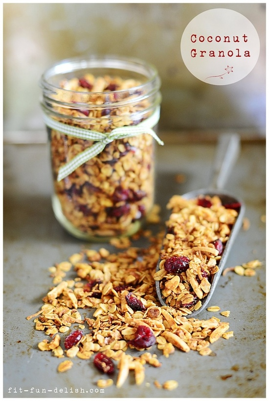 Coconut granola with berries & nuts