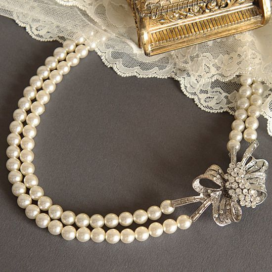 AMARYLLIS Rhinestone Flower Bow Wedding by GlamorousBijoux on Etsy, $102.00