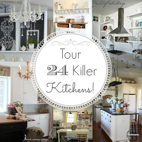 24 Kitchen Home Tours with Diy details, before and afters and decorating ideas!! #kitchen #diy #home