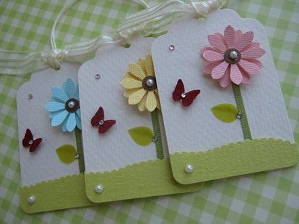 Pink Flower Butterfly Tags - bjl