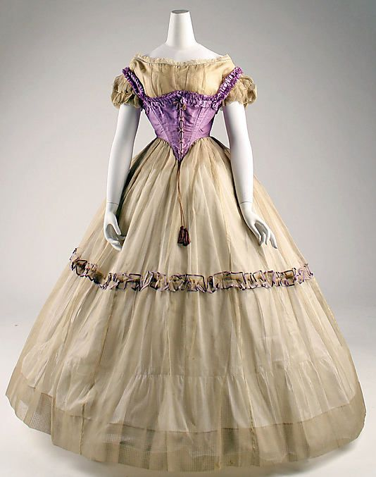 Ensemble  Date: ca. 1855 Culture: American Medium: piña cloth, silk- lovely swiss body on this outfit. Obviously for a young lady.