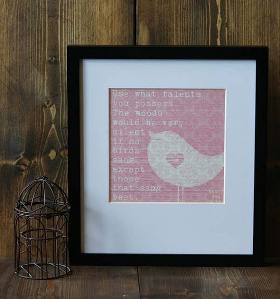 Songbird  Original Modern Bird Print Pink by hairbrainedschemes, $15.00