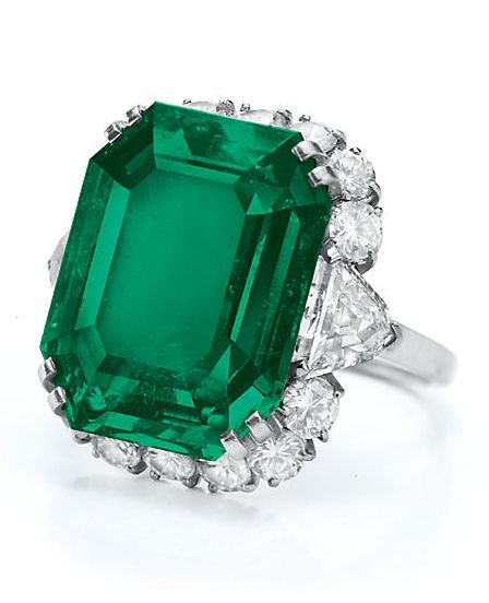 A Bulgari emerald and diamond ring formerly owned by Elizabeth Taylor.