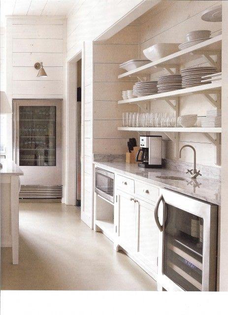 kitchen shelves and floor