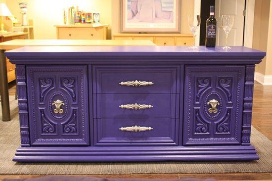 purple painted furniture