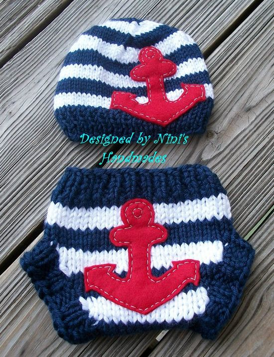 knit NAUTICAL ANCHOR Set Baby Hat  and Diaper Cover - Red, blue and white stripes, red anchor. $38.00, via Etsy.