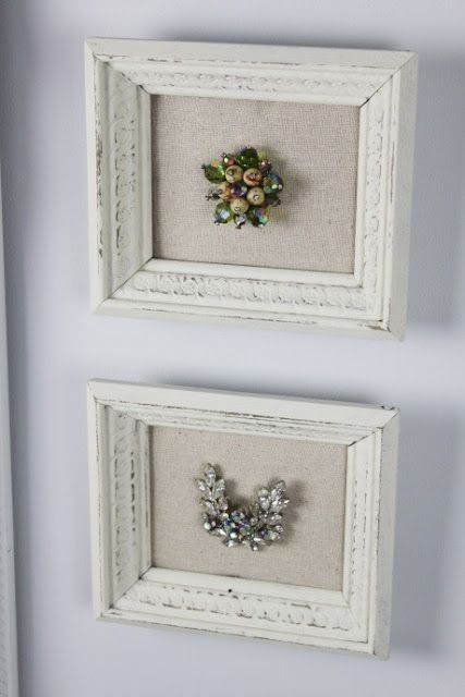 framed jewelry. going to do this with some of my mom's pins.